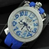 数量限定定番人気な自動巻き ガガミラノ コピー 通販 GAGA MILANO レディース腕時計 6054.2 BK ラバーベルト ブルー 数字と日付が付きウォッチ.
