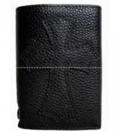 Chrome Heartsクロムハーツ偽物三つ折り財布 レザー ブラック メンズ財布 クロス ボタン付き ウォレット