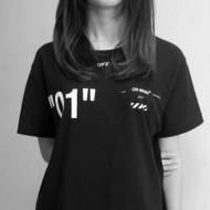 2018夏季新品!オフホワイト 半袖 クルーネック Off-White Tシャツ レディース 黒ゆるサイズ 優れた速乾性