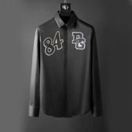 ドルチェ&ガッバーナ 偽物Dolce&Gabbanaメンズ長袖DGのパッチシャツブラックホワイト2色が選べる