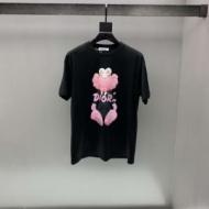 Dior tシャツ メンズ キッズライクな可愛さが魅力 ディオール コピー 安価 大人気 プリント 黒白2色 コラボ 品質保証