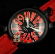 高級品のGaGa Milanoコピー、ガガミラノの数字が付く赤いベルトの女性腕時計.