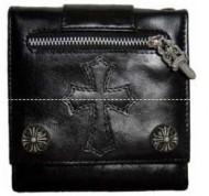 光沢感があるクロムハーツ、Chrome Heartsの黒いクロスロゴ付きメンズ2折り財布.