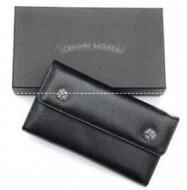 クロスボタンのクロムハーツ 財布 スーパーコピー メンズウェーブウォレット Chrome Hearts ブラック ヘビーレザーの2折り長財布.