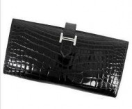 トレンド エルメス財布 二つ折り HERMES フラップ クロコダイルレザー ウォレット ブラック