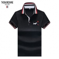 THOM BROWNEトムブラウン 偽物トリコロールカラー半袖のメンズ刺繍ポロシャツすてきでクール